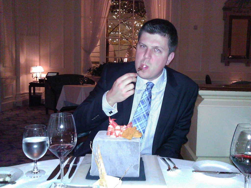 Ryan enjoying his prawns.